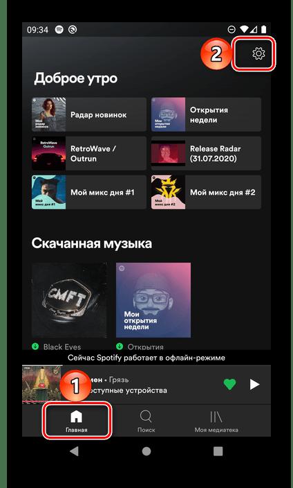 Переход в настройки мобильного приложения Spotify для Android