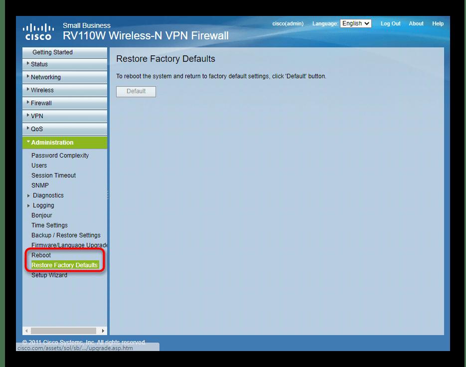 Перезагрузка или сброс настроек роутера Cisco через веб-интерфейс