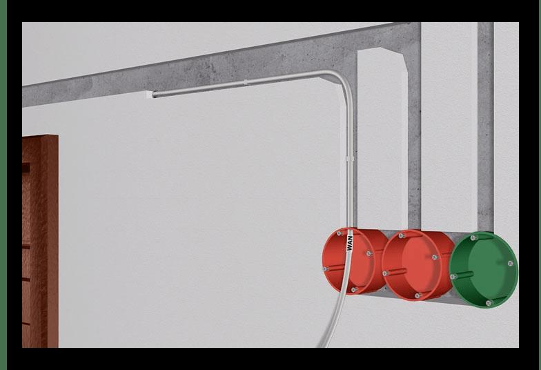 Пример проводки оптоволокна к сетевой розетке в стене