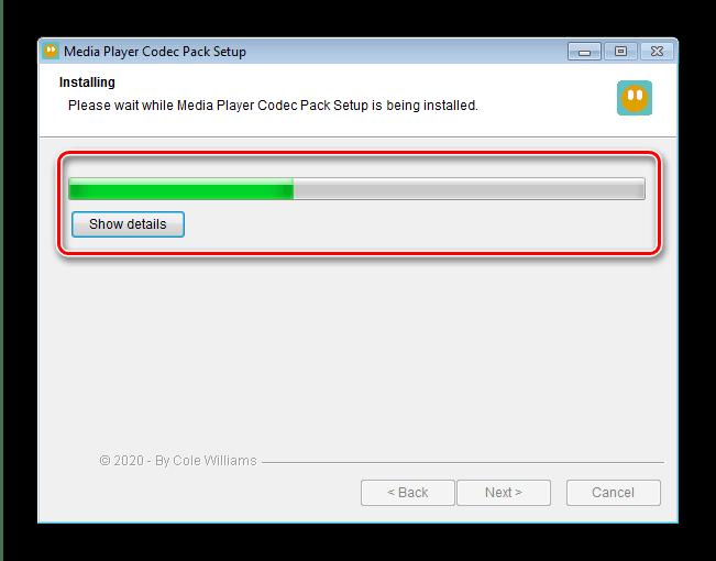 Процесс инсталляции Media Player Codec Pack для установки кодеков на Windows 7
