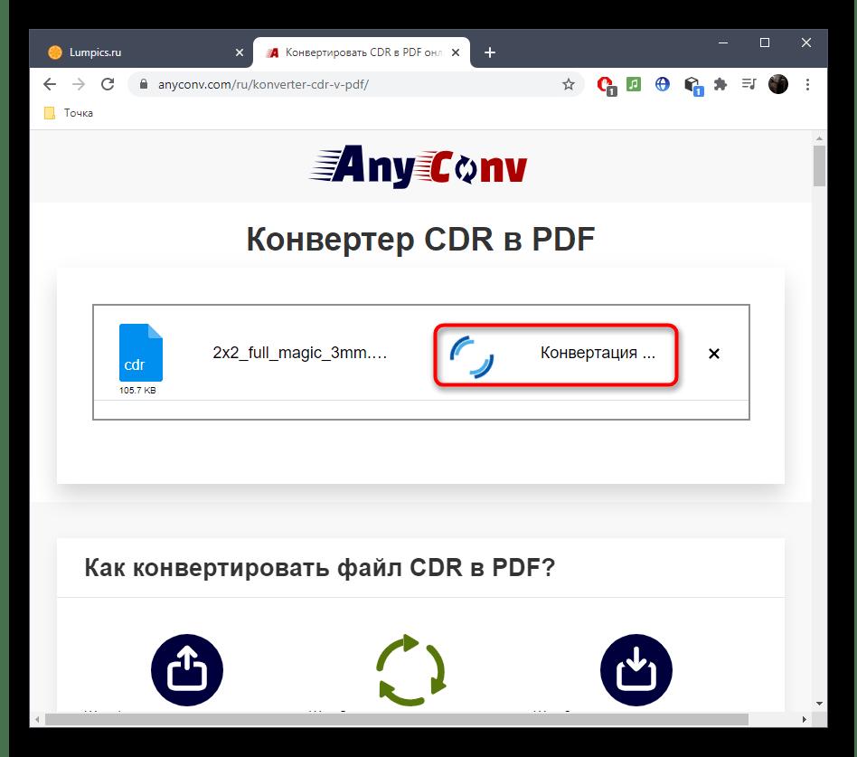 Процесс конвертирования файлов CDR в PDF через онлайн-сервис AnyConv