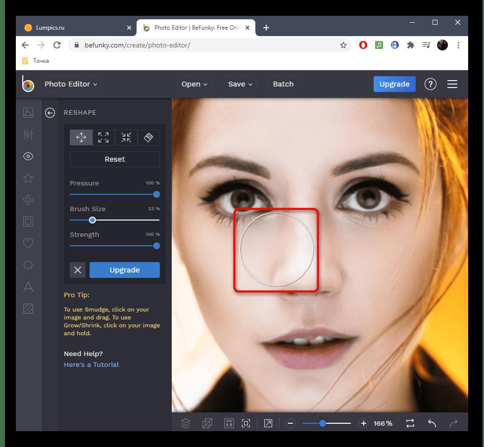 Процесс уменьшения носа на фото в онлайн-сервисе BeFunky