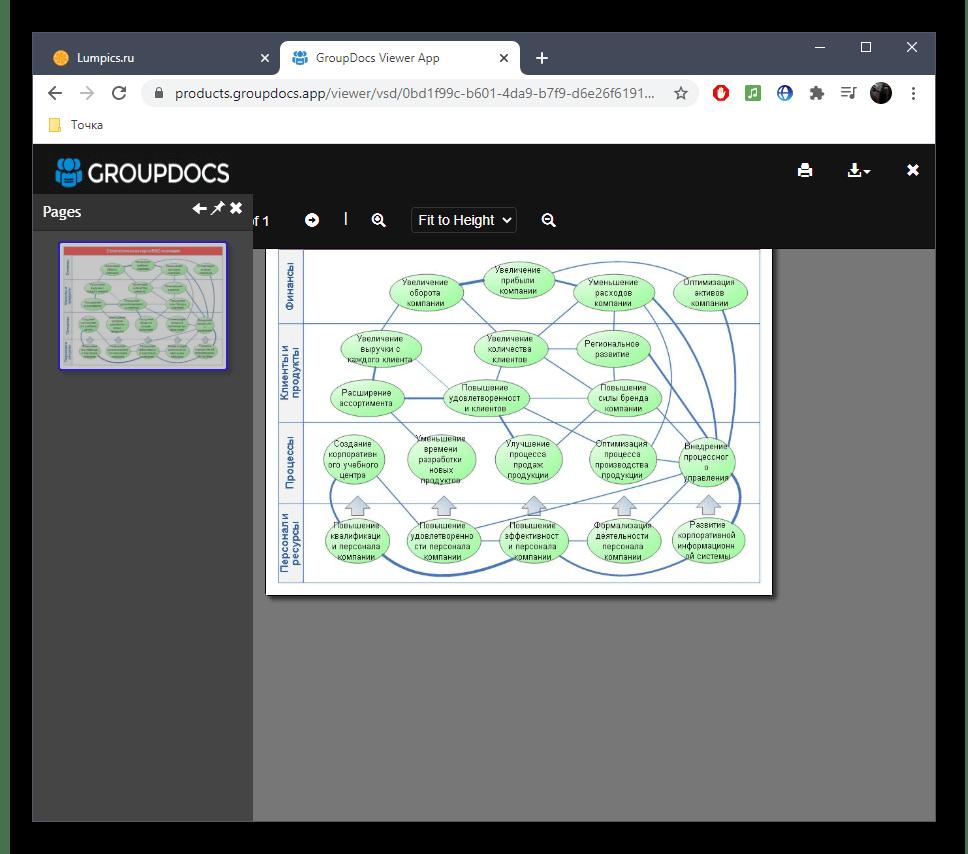 Просмотр содержимого файла VSD через онлайн-сервис GroupDocs