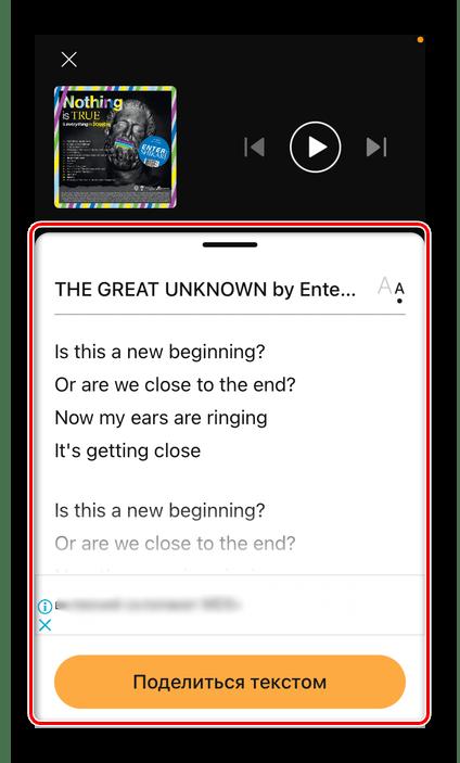 Просмотр текста песни в мобильном приложении SounHound для iPhone