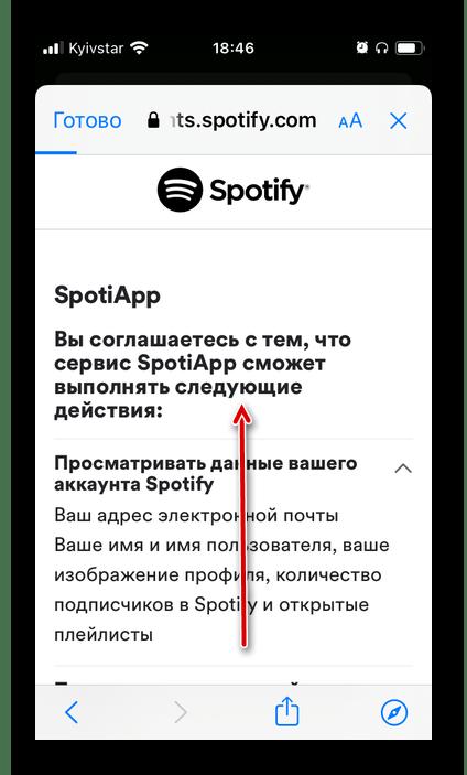Разрешения, запрашиваемые у Spotify приложением SpotiApp на телефоне iPhone и Android