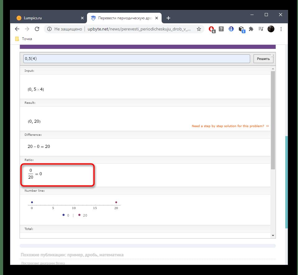 Результат перевода периодической дроби в обыкновенную при помощи онлайн-сервиса UpByte