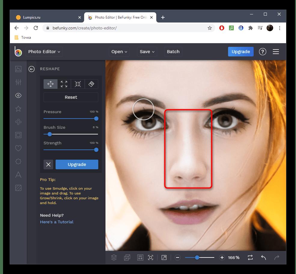 Результат уменьшения носа на фото в онлайн-сервисе BeFunky