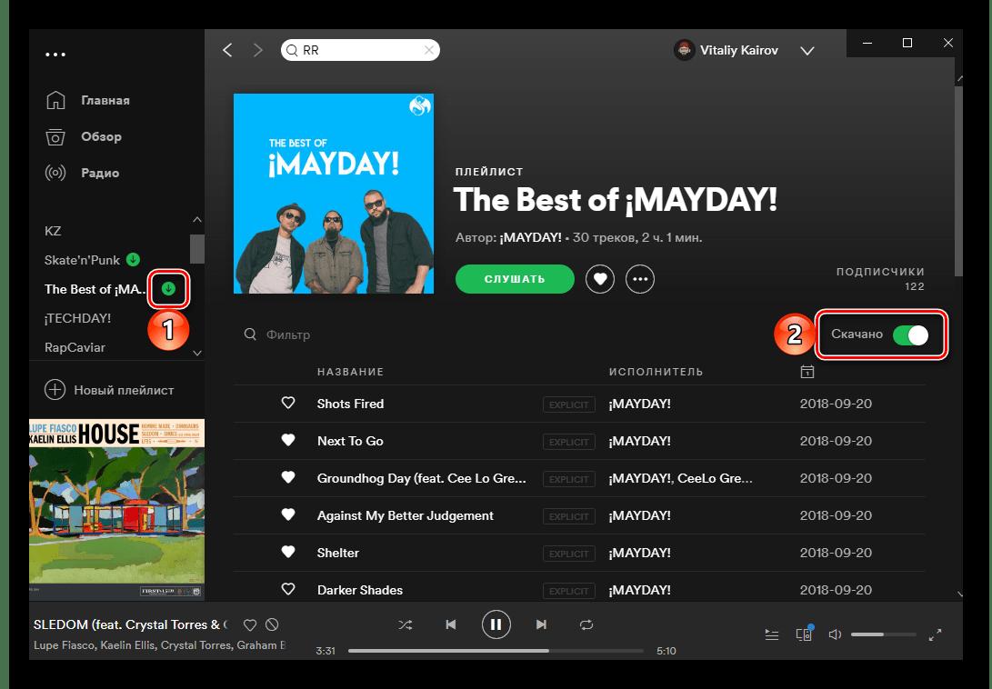Результат успешного скачивания плейлиста с треками со Spotify на ПК