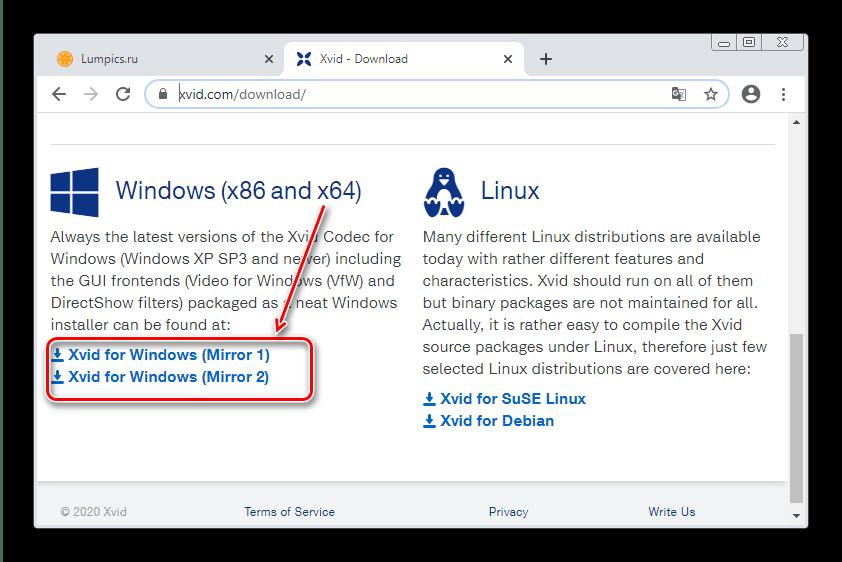 Старт загрузки Xvid Codec для установки кодеков на Windows 7