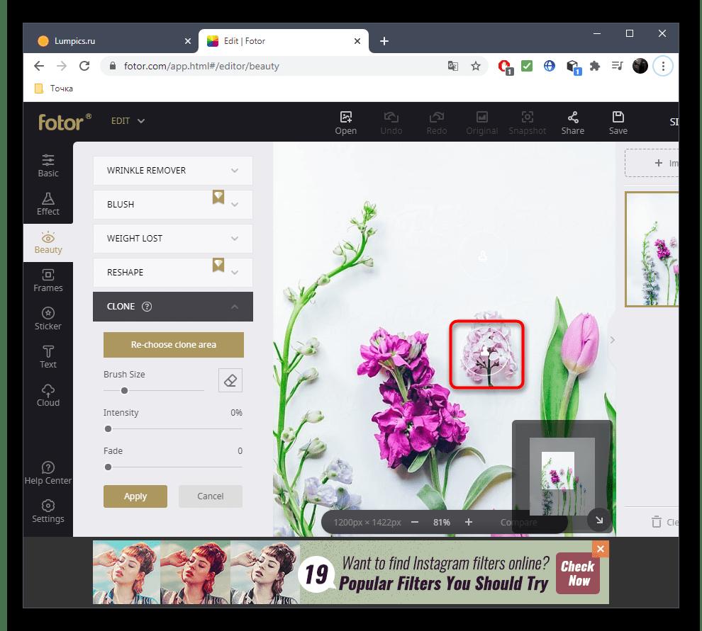 Удаление лишнего с фото при помощи онлайн-сервиса Fotor