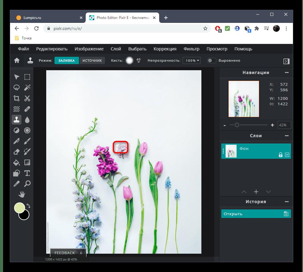 Удаление лишнего с фото при помощи онлайн-сервиса PIXLR
