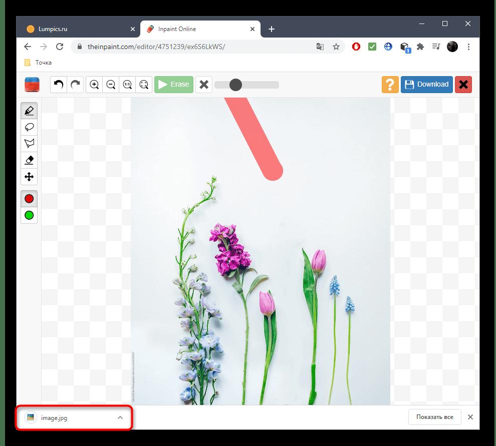 Успешное сохранение фото после удаления лишнего через онлайн-сервис Inpaint