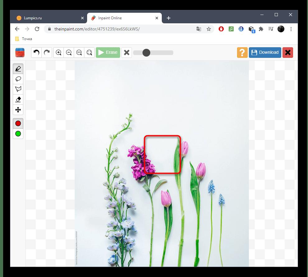 Успешное удаление лишнего с фото при помощи онлайн-сервиса Inpaint