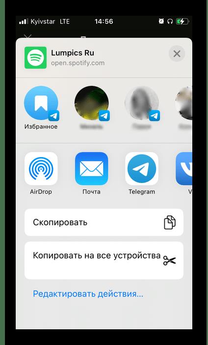 Варианты отправки ссылки на свой профиль в мобильном приложении Spotify