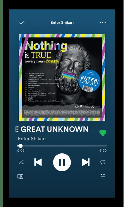 Включение песни для получения текста в мобильном приложении Spotify на iPhone