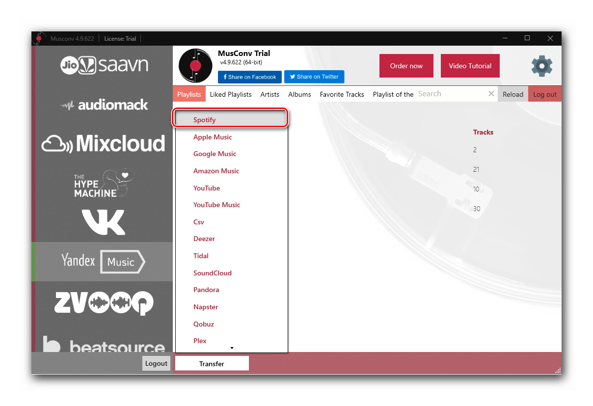 Выбор целевой платформы в программе MusConv для переноса медиатеки из Яндекс.Музыки в Spotify на ПК