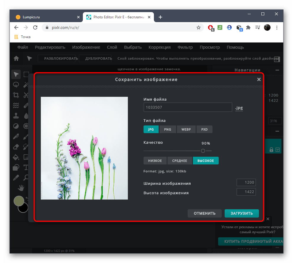 Выбор формата файла для сохранения фото после удаления лишнего при помощи онлайн-сервиса PIXLR
