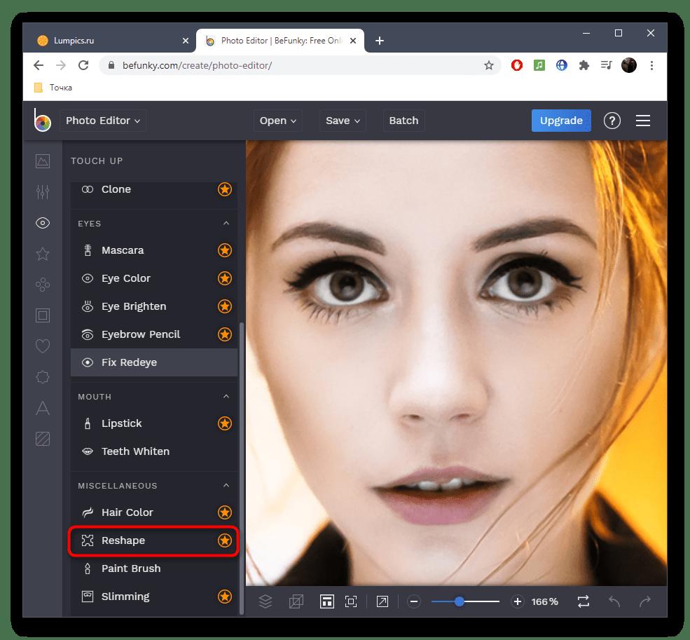 Выбор инструмента для уменьшения носа на фото в онлайн-сервисе BeFunky
