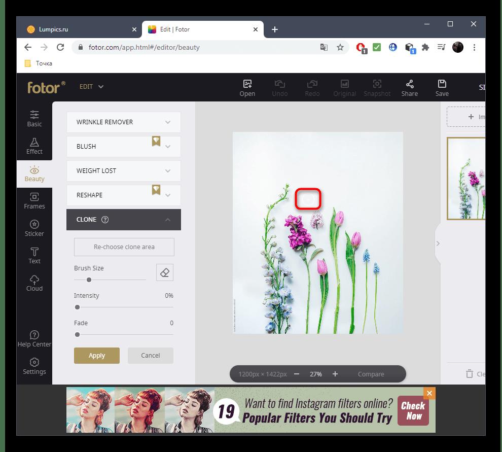 Выбор области для замены лишнего на фото при помощи онлайн-сервиса Fotor