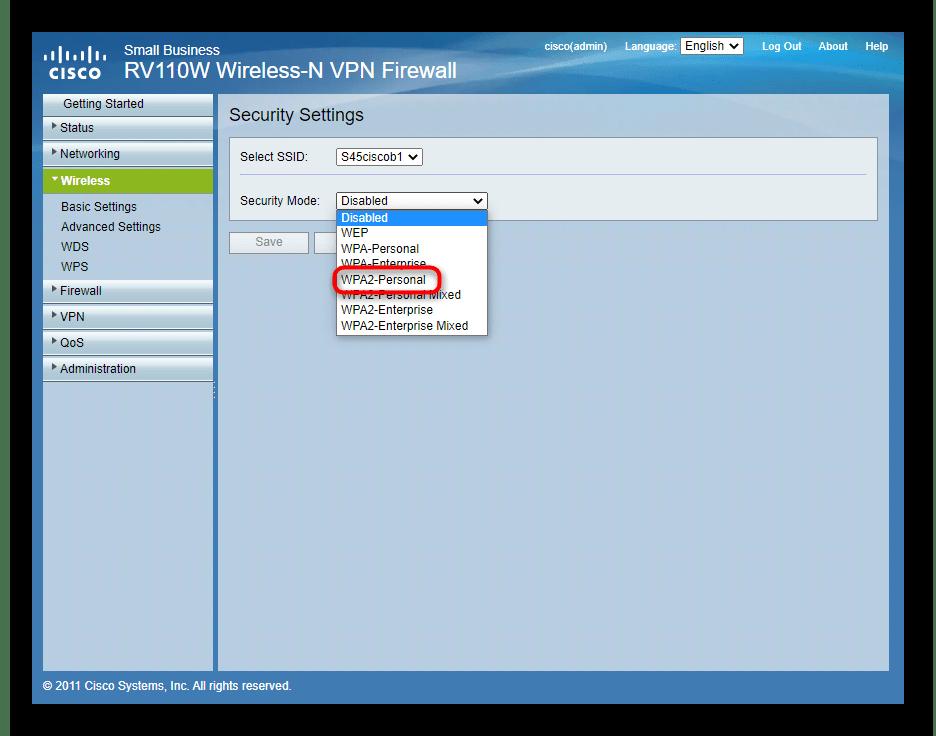 Выбор типа протокола защиты беспроводной сети роутера Cisco
