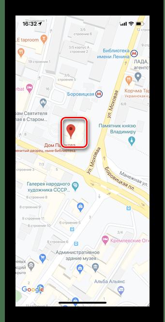 Выбор точки для просмотра панорамных фотографий в Гугл Карты iOS
