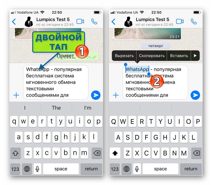 WhatsApp для iPhone выделение отдельного слова из подготавливаемого для отправки через мессенджер сообщения
