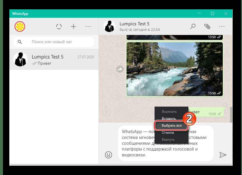 WhatsApp для Windows пункт Выбрать все в контекстном меню отправляемого сообщения