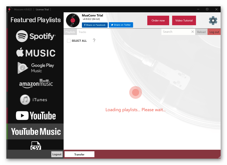 Загрузка плейлистов для переноса музыки из YouTube в Spotify в программе MusConv
