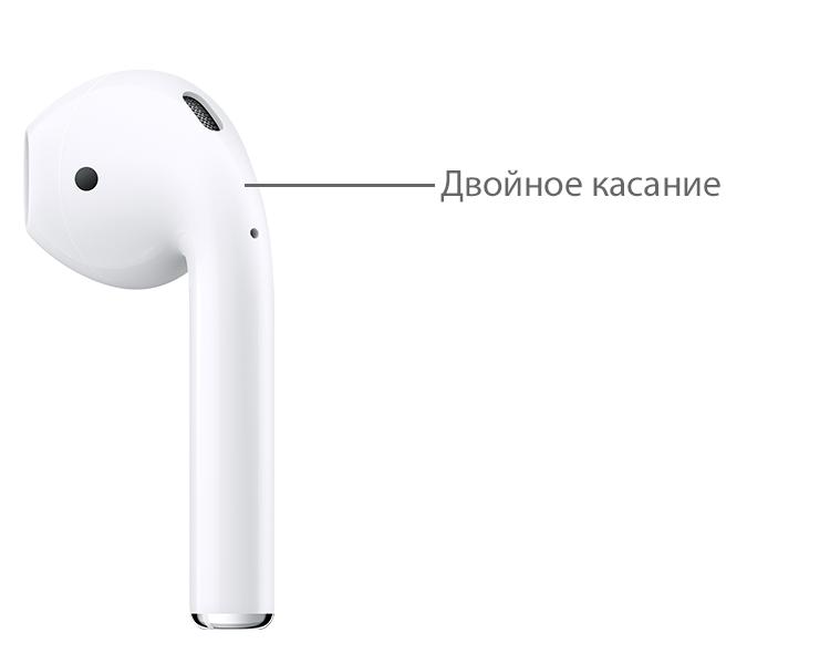 Двойное касание датчика AirPods для переключения музыки