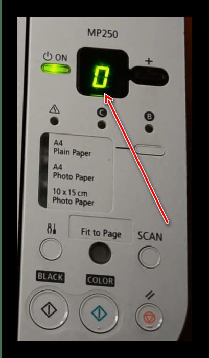 Индикатор сервисного режима для сброса памперса для перезагрузки принтера Canon после заправки картриджа