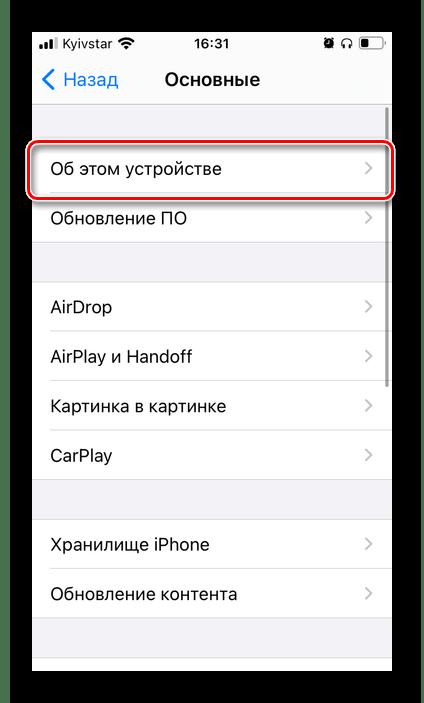 Информация об этом устройстве в настройках iPhone для просмотра модели AirPods