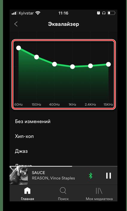 Изменение значений эквалайзера в настройках приложения Spotify на iPhone