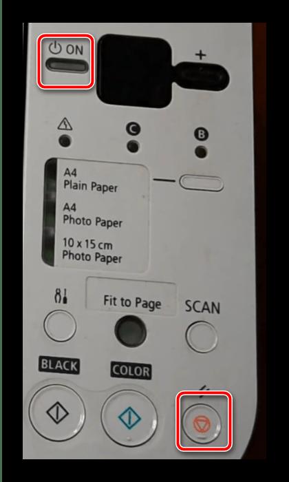 Кнопки для нажатия для сброса памперса для перезагрузки принтера Canon после заправки картриджа
