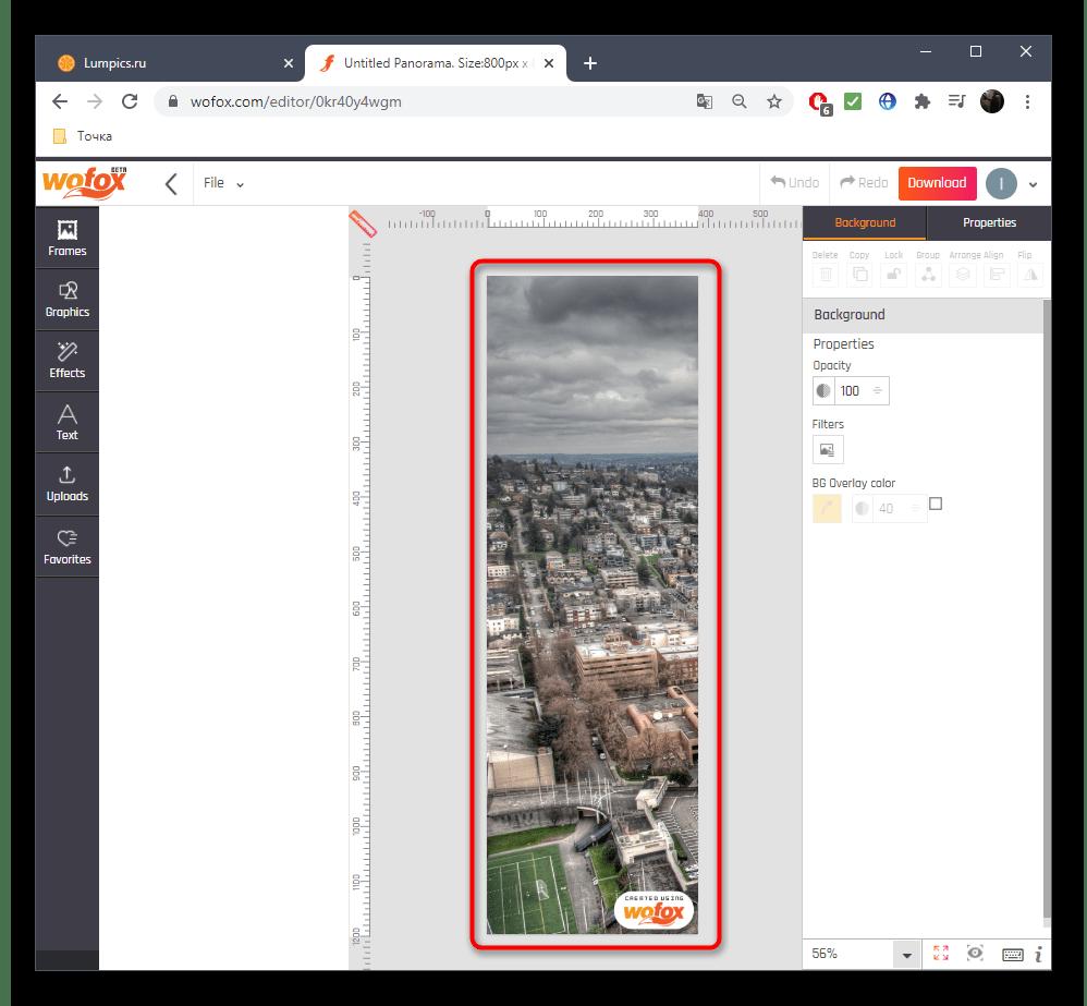 Настройка частей панорамы при создании через онлайн-сервис WoFox