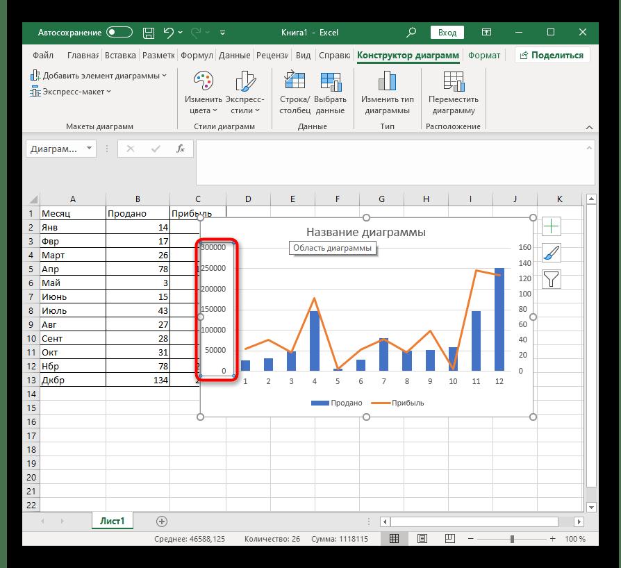 Открытие дополнительных настроек для комбинированной диаграммы в Excel