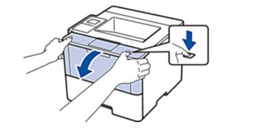 Открытие крышки лазерного принтера Brother для замены тонера