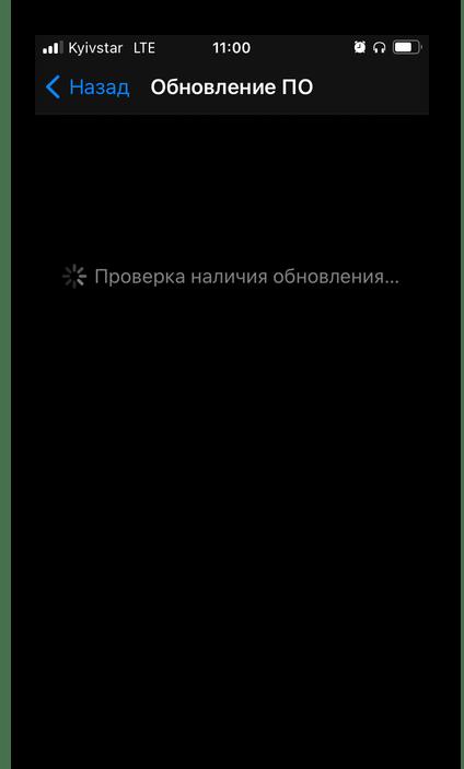 Ожидание завершения проверки наличия обновлений в настройках iOS на iPhone