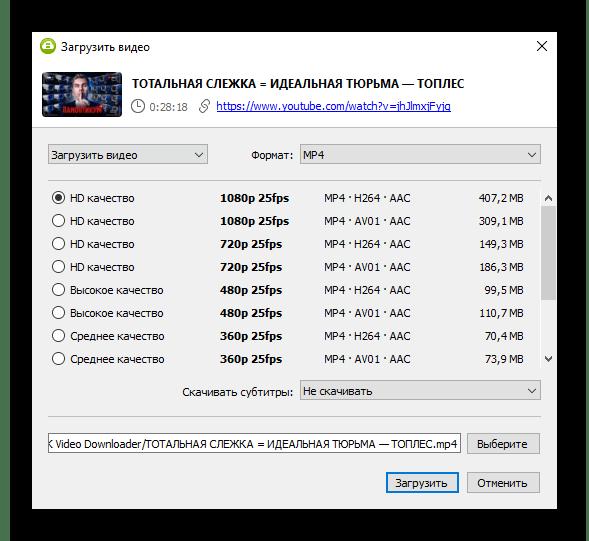 Параметры скачивания одиночного ролика через вставку ссылки в 4K Video Downloader