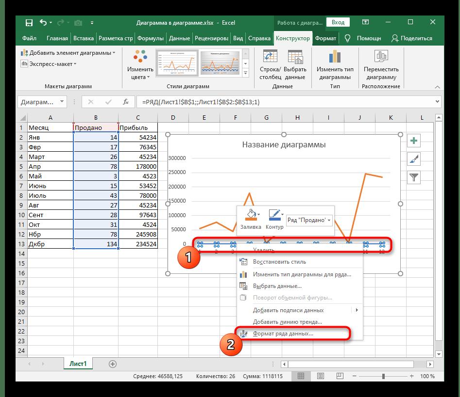 Переход к изменению оси графика через контекстное меню в Excel