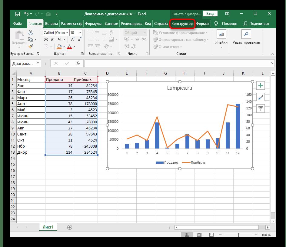 Переход на вкладку Конструктор для добавления названия диаграммы в Excel