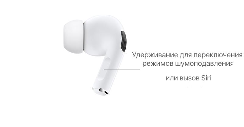 Переключение режимов шумоподавления и вызов Siri на наушниках AirPods Pro