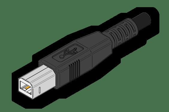 Первая сторона кабеля для подключения принтера от HP к компьютеру или ноутбуку