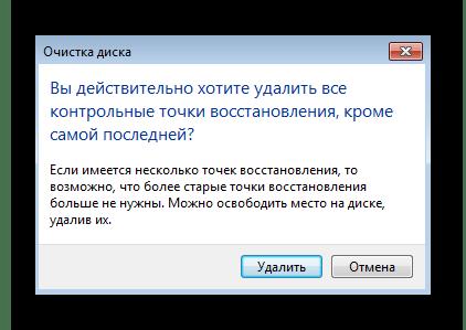 Подтверждение удаления точек восстановления при проблемах с их работой в Windows 7