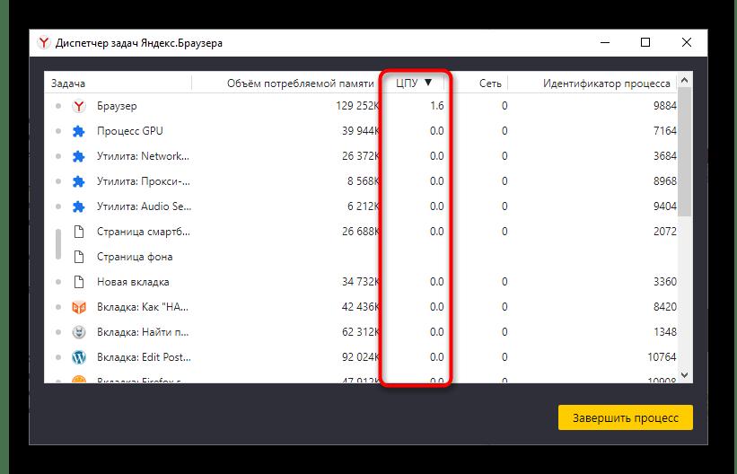 Просмотр нагрузки процессов Яндекс.Браузера на процессор компьютера через встроенный диспетчер задач