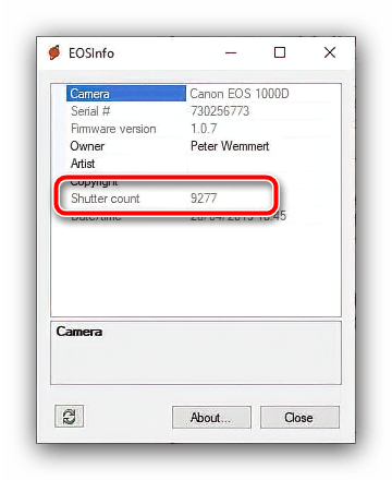 Проверка пробега камеры Canon посредством EOSINFO