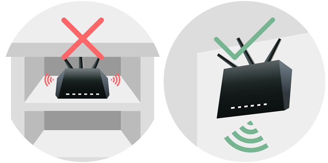 Расположение роутера в комнате для усиления сигнала беспроводной сети роутера Ростелеком