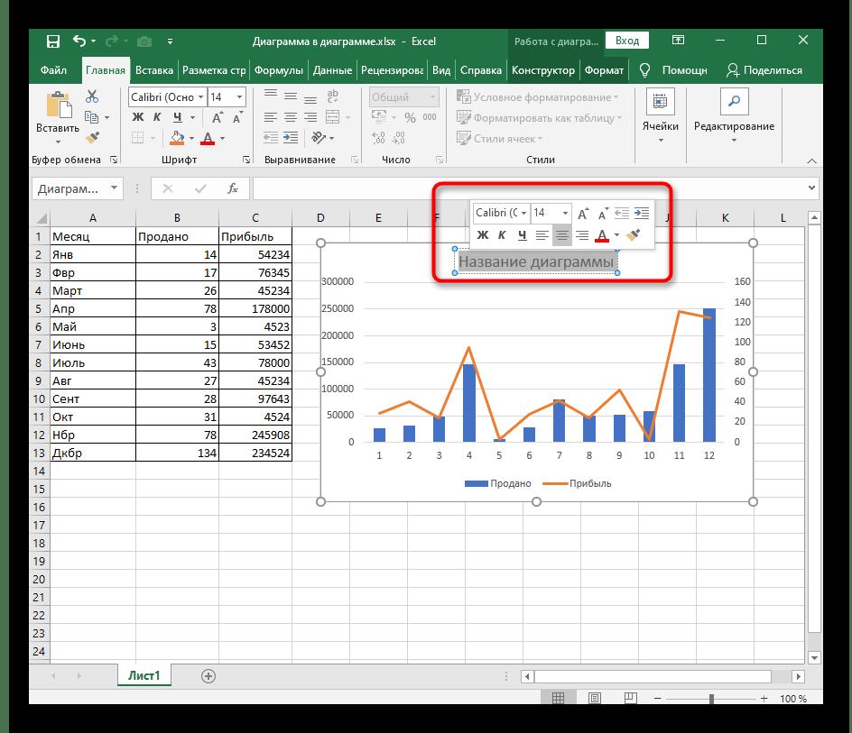 Редактирование стандартного названия диаграммы в Excel после его выделения