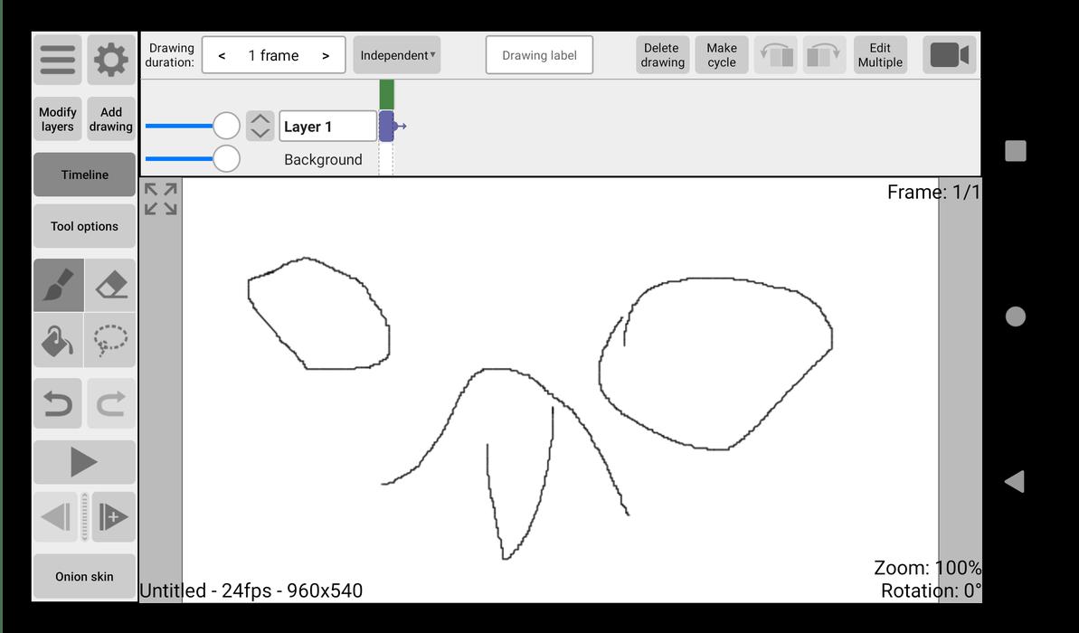 Режим редактирования ролика для создания анимаций для Android RoughAnimator