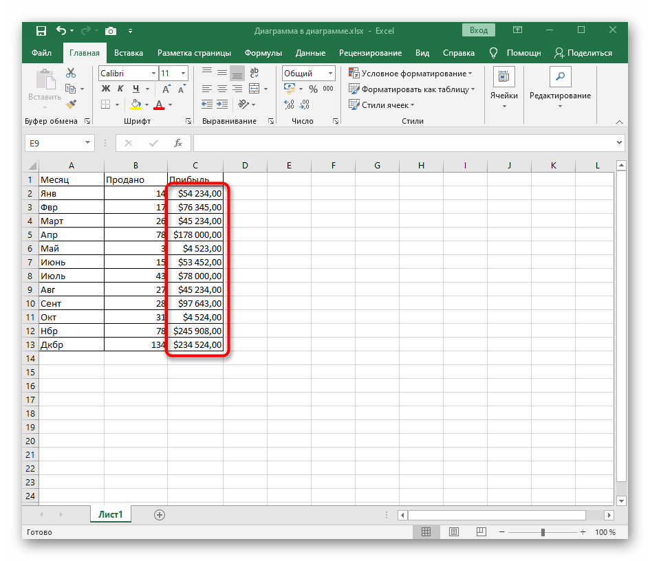 Результат добавления знака $ в Excel путем изменения формата ячеек
