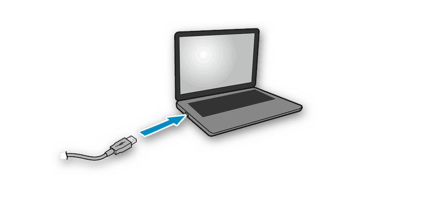 Сторона кабеля принтера Canon для подключения его к ноутбуку